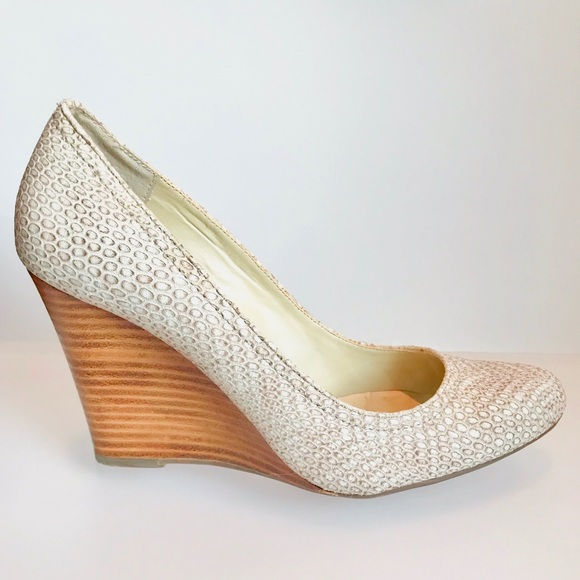 2f9a0c906e Max Studio Shoes | Mecca Wedge In White Snakeskin Sz 8 | Poshmark